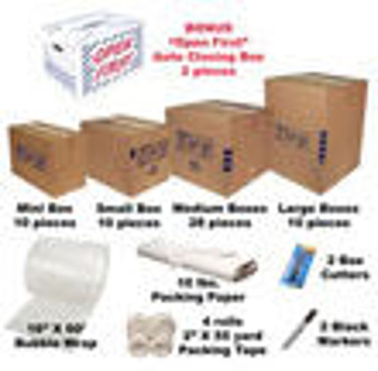Picture of Moving Boxes Kit #3 / 60 Cartons+Supplies Free Shipping