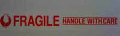 """Picture of Stock Printed Tape -""""FRAGILE"""" on WHITE"""