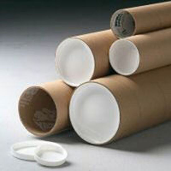 """Picture of Kraft Mailing Tubes w/End Caps - 3 X 18"""""""