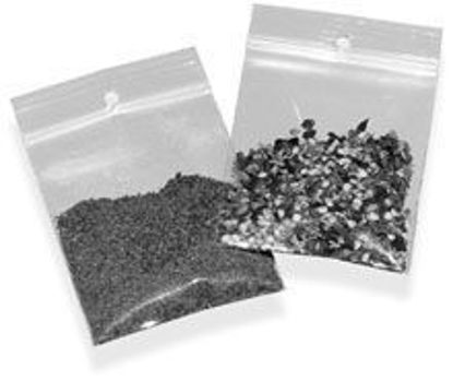Picture of POLY BAGS RECLOSEABLE w/HANG HOLES 4 MIL 3 X 5""