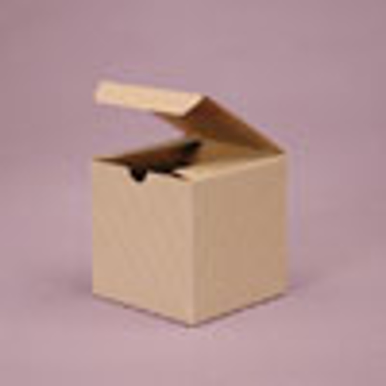 """Picture of Tinted Gift Boxes 4 x 4 x 4"""" Oatmeal Pinstripe"""
